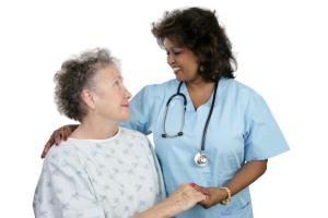 caregiver talking to a senior